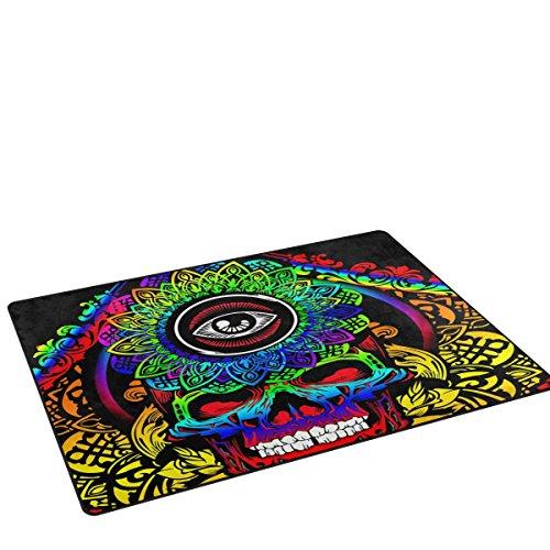 coosun Psychedelic Skull Bereich Teppich Teppich rutschfeste Fußmatte Fußmatten für Wohnzimmer Schlafzimmer 152,4x 99,1cm, Textil, multi, 60 x 39 inch