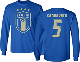 Tcamp Soccer Legends #5 Fabio CANNAVARO Jersey Style Men's Long Sleeve T-Shirt