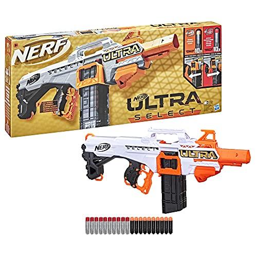 NERF Ultra Select vollmotorisierter Blaster, Distanz- oder Präzisionsschüsse, mit Magazinen und Darts, nur mit NERF Ultra Darts kompatibel, F0958U50, Multi Colour