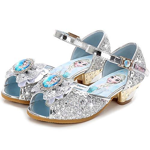 Monissy Niña Tango Latino Zapatos de Vestir Lazo Barato Transpirable Lentejuelas Antideslizante Sandalias Disfraz Princesa Elsa Navidad Regalo Diario Moda Sandalias Tamaño24-36 Plateado Azul