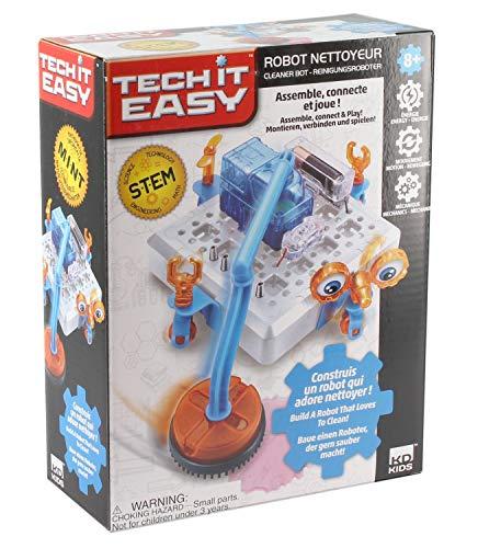 Tech it Easy DES18400 nettoyeur Reinigungsroboter, STEM Bausatz für eine Roboter mit Staubsauger, Mint Baukasten mit Elektronikbauteilen, Konstruktionsbaukasten für Kinder ab 8 Jahre, weiß