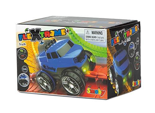 Flextreme - Coche azul con luz, coche con carcasa intercambiable y luces para la pista Flextrem (Smoby 180906 web)