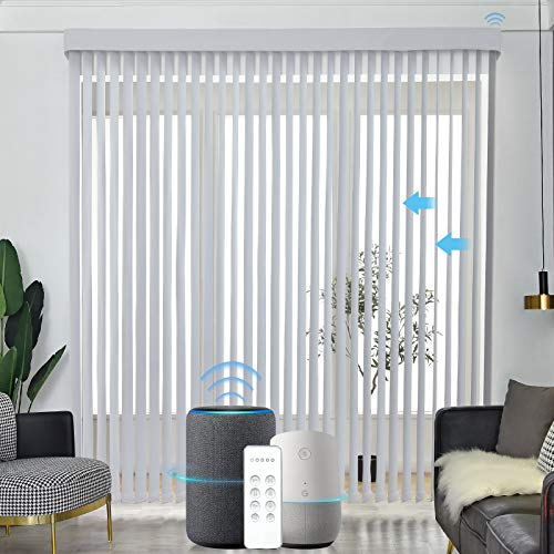 Graywind Motorized Vertical Blinds Compatible with Alexa Google Privacy Reversible Blackout Smart...