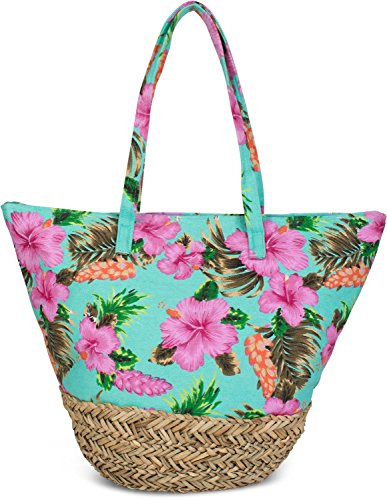 styleBREAKER Strandtasche mit Buntem Hibiskus Blüten Print, Bast am Boden und Reißverschluss, Schultertasche, Shopper, Damen 02012233, Farbe:Türkis