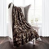 Italian Luxury Super Soft Faux Fur Throw Blanket - Elegant Cozy Hypoallergenic Ultra Plush Machine Washable Shaggy Fleece Blanket - 60'x70' - Chocolate