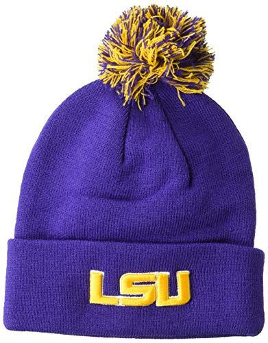 NCAA Zephyr Lsu Tigers Mens Pom Knit Beanie, Adjustable, Team Color