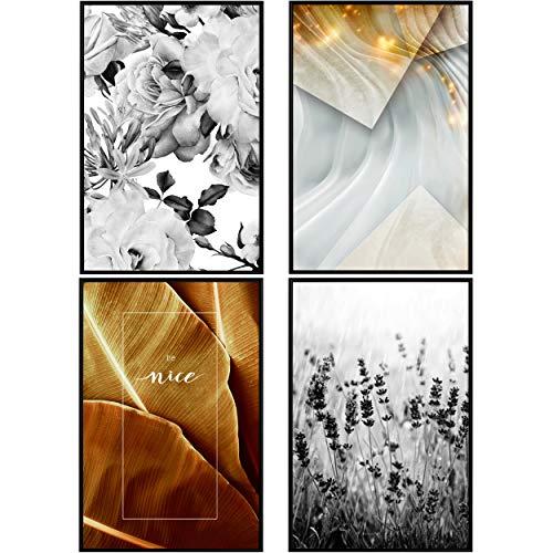 decomonkey | Poster 4er – Set mit schwarzem Rahmen schwarz-weiß Abstrakt Kunstdruck Wandbild Print Bilder Bilderrahmen Kunstposter Wandposter Posterset Blumen Blätter Pflanze Natru Landschaft
