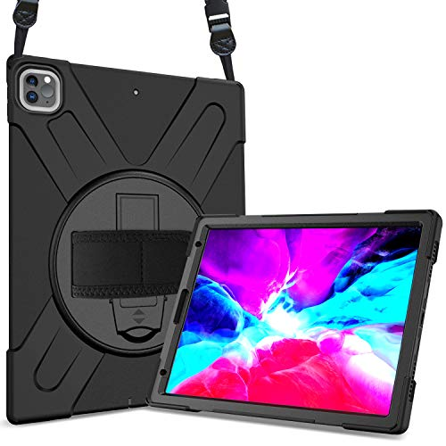 ProCase iPad Pro 12.9 Case 2020 & 2018, Rugged Heavy Duty Shockproof 360 Degree Rotatable Kickstand Protective Cover Case for iPad Pro 12.9' 4th Gen 2020 / 3rd Gen 2018–Black