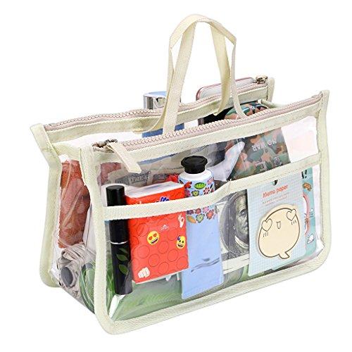 IGNPION Transparent PVC Insert Handtasche Organizer 8 Taschen Reise Make-Up Kulturbeutel Waschbeutel Kosmetiktasche Organizer Insert für Mädchen Frauen mit Reißverschluss und Griffe (Beige)