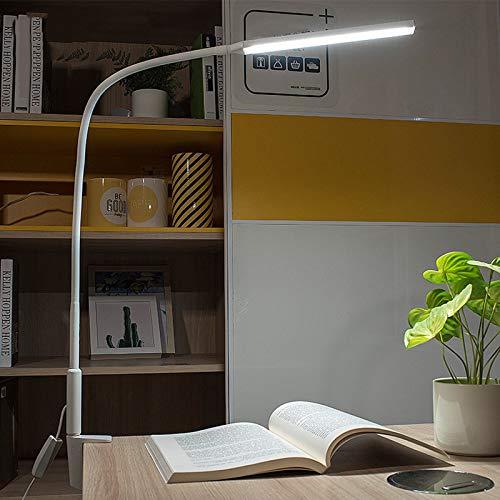 QJUZO 10W LED Lámpara de Mesa Flexible con Pinza, 64 LEDs Lámpara...