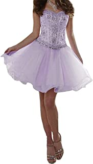 Women's Organza Sweetheart Short Homecoming Dresses Lotus Leaf Edge Evening Party Ball Gown