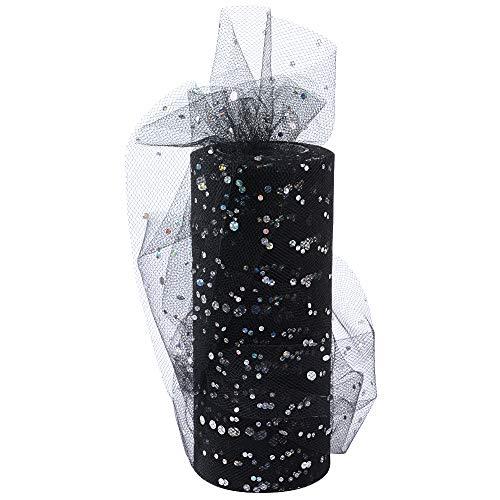 BUONDAC 22,5 m Tüll Stoff 15 cm breit mit kleine Pailletten Tüllband für Hochzeit Weihnachten Party Deko Zierband Rolle Dekostoff Dekoband (Schwarz)