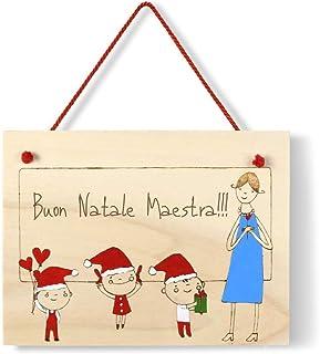 Targa regalo Natale maestre personalizzabile in legno