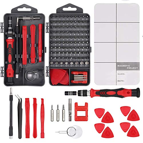 Justech 121 in 1 Screwdriver Set Precision Screwdriver Repair Tool Kit Magnetic Professional Removable Tool for iPhone X,8,7/Computer/Tablet/Game Console/Electric Device Watch-Red