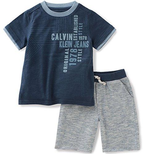 Calvin Klein Toddler Boys 2 Pieces Tee Set-Marled Shorts, Gray, 3T