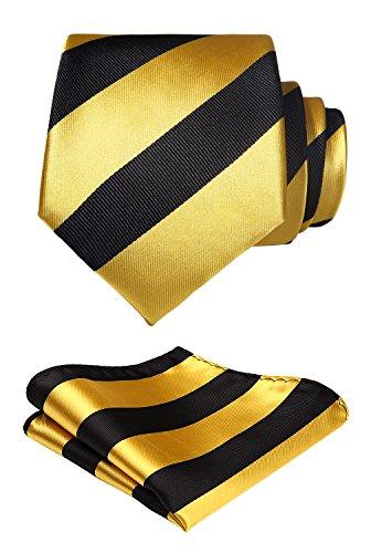 Hisdern HISDERN Herren Krawatte Gestreifte Hochzeit Krawatte & Einstecktuch Set Gelb Schwarz