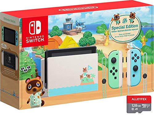 Newest Nintendo Switch with Green and Blue Joy-Con - Animal Crossing: New Horizons Edition - 6.2' Touchscreen LCD Display, 802.11AC WiFi, Bluetooth 4.1 - Green and Blue - AllyFlex 128GB Micro SD Card