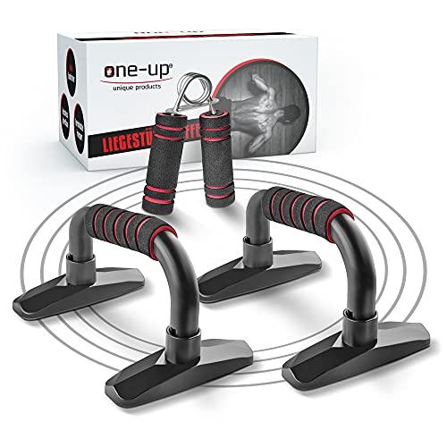 one-up Professionelle ergonomische Liegestützgriffe – [2]er Set Push up bar mit Antirutschunterfläche – Fitness Zubehör für Training Zuhause & Outdoor