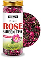 YOGAFY - Rose Green Tea Whole Leaf | for Healthy Skin and Detox | 100 Gram - 50 Cups |