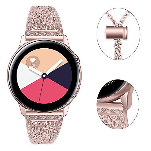 Myada para Samsung Galaxy Watch Correa de 42 mm Correa de 20 mm Pulsera de Diamantes de imitación para Mujer Banda de Pulsera de Metal para Samsung Galaxy Watch Active 40 mm/Gear Sport / S2 Classic