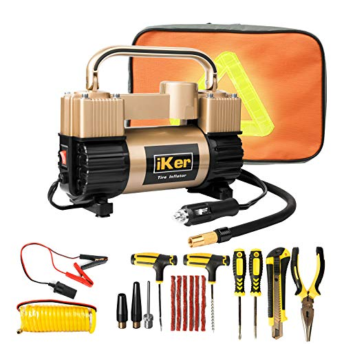 iKer Portable Tire Inflator Air Compressor Pump for Car,12V 70L/Min Heavy Duty Double Cylinders Metal Air Pump 150PSI, Compressor with Battery Clamp,11.5ft Extension Air Hose and Tire Repair Kit