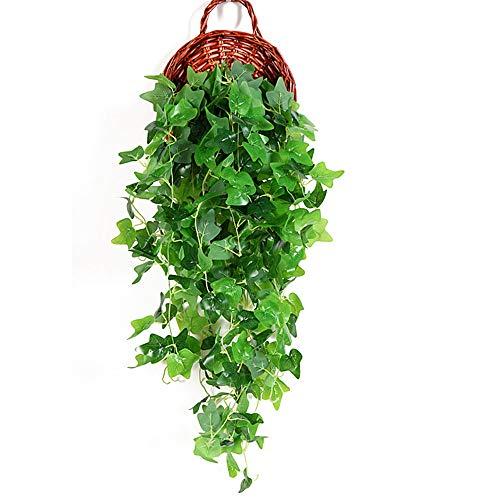 Joycaling Plantas artificiales de alta simulación gran sin olor de vida verde planta de simulación interior plantas de flores adorno de pared de flores interiores/exteriores
