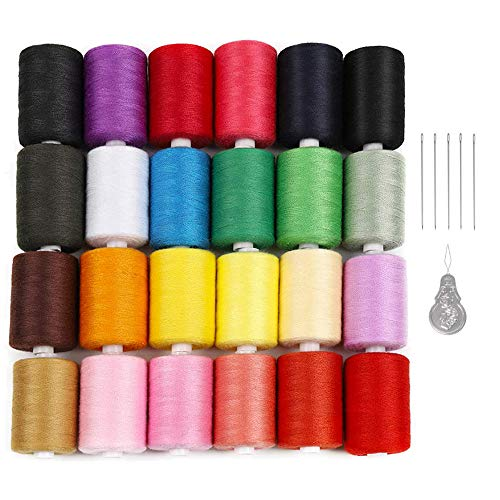 LIANTRAL Polyester Sewing Thread 24 Colors 1000 Yards Each Spools Embroidery Thread for Hand and...