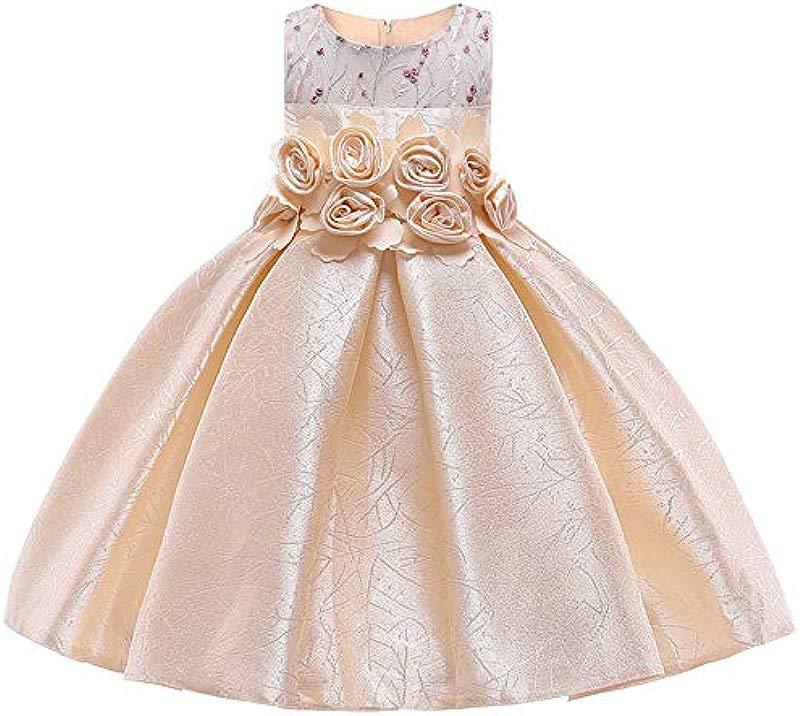 MoMo Baby Girl 3D Flower Silk Princess Dress For Wedding Party Elegant Kids Dresses For Toddler Girl Children Fashion Clothing 9