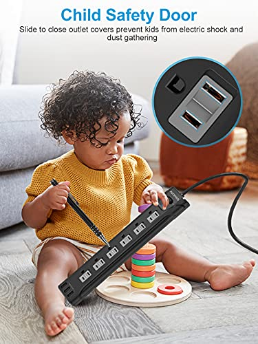 AUOPRO Power Strip 2 Pack - 6 Outlet Surge Protector with 3 USB Ports, Flat Plug Outlet Strip Black, 1200 Joules Surge Protection, Wall Mountable, 5ft Extension Cord Power Strips for Home Office