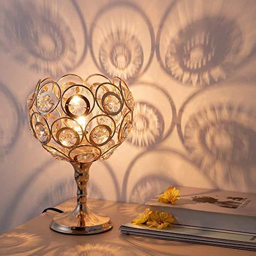 FGART Kristall Tischlampe, Gold Sphärische Nachttischlampe, Elegante Dekorative Nachttischlampe Laterne Nachttischlampe Mit Metallfuß Für Schlafzimmer, Wohnzimmer, Büro