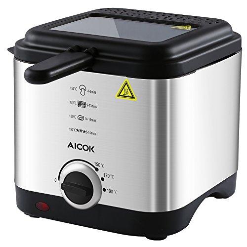 Aicok Mini Friggitrice, 1.5 Litri con Controllo Temperatura e Coperchio Removibile, Cestello in Acciaio Inox, 900W