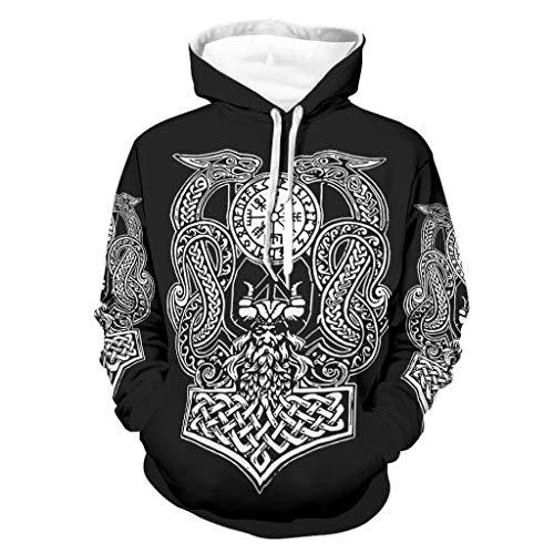 Sudadera con capucha y diseño de martillo vikingo, con diseño de dragón y Vegvisir para hombre, de manga larga, con bolsillos Negro XXL