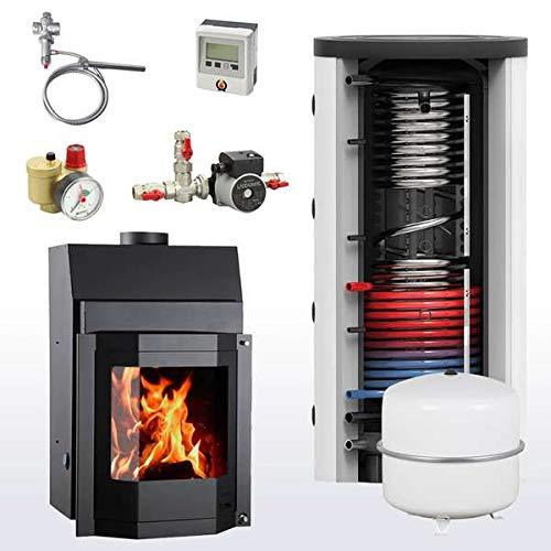 Komplettset Wasserführender Kamineinsatz AQUAFLAM 25 Prisma + 1000 Hygienespeicher inkl. 1 Wärmetauscher
