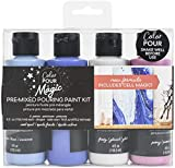 American Crafts 357095 Color Pour Magic Pre-Mixed Paint Kit, Cool Opal - Pack of 4