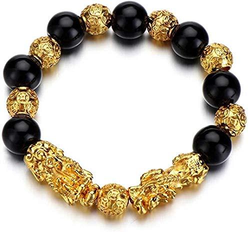 HYJMJJ Pulseras de Feng Shui Plateados Oro Grano de la Bola for Hombres Mujeres Pulsera Estirable elástico Riqueza Puede traer Buena Suerte