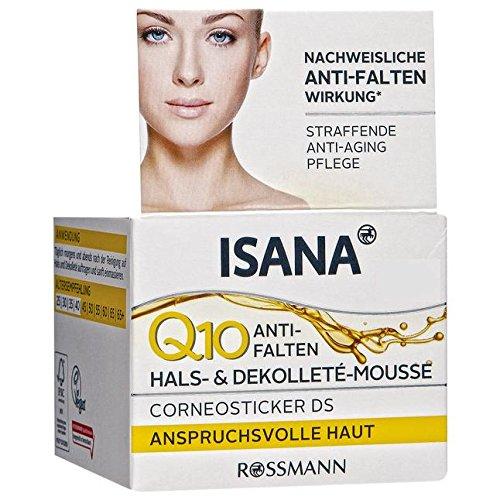 ISANA Q10 Anti-Falten Hals- & Dekolleté-Mousse 50 ml für anspruchsvolle Haut, Corneosticker DS,...