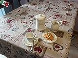 R.P. Tovaglia antimacchia resinata Cucina Holly Cuori Tirolese Country Chic cm 140x180, Bordeaux