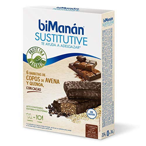 Bimanan Sustitutive Barritas Proteina Vegetal Copos Avena Quinoa y Cacao, 6x34g