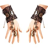 Daimay Bronzing Fingerless Gloves Gothic Floral Lace Steampunk Wristband Ring Vintage Bead...