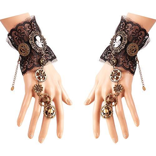 Daimay Gothic Handstulpe mit Brosche Victorian Steampunk Handgelenk Cuff Gear Armband für Hochzeit Braut Halloween Fasching Accessoires - 1 Paar - Piraten-Stil