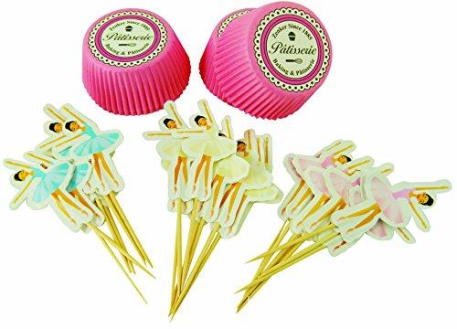 Zenker Set decoración Cupcake Magdalenas Muffins Dulce Pastel Bailarina cápsula de Papel Colorido, Ø8x3cm. 48 uds Decorar, aleatorios en Rosa o Celeste