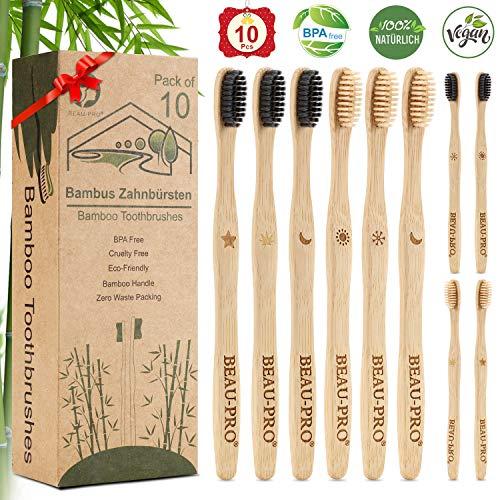 Bambus Zahnbürsten Set - 10er Pack Zahnbürste Bambus Holzzahnbürste für Kinder Erwachsene, Natürlich Nachhaltige Bamboo Toothbrush, Plastikfrei, BPA Frei, Umweltfreundliche, Unabhängige Verpackung