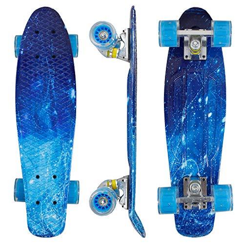 """Eseewigs 22\""""x6 Komplettes Mini Cruiser Skateboard für Anfänger Jugendliche Jugendliche Mädchen Jungen mit LED Rädern"""