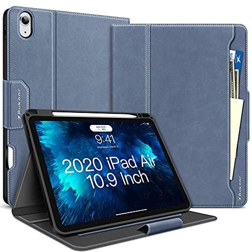 Funda para iPad Air 4 2020, iPad Air 4ª Generación Funda 10.9 pulgadas con Pencil Soporte Auto Sleep/Despertar Cuero PU Folio Resistente a Golpes Funda Inteligente para iPad Air 4, Azul