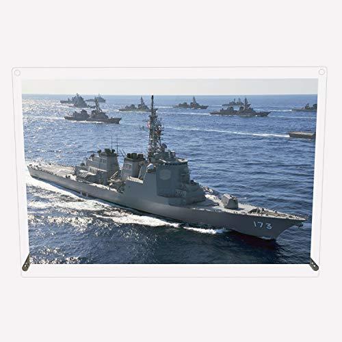 CuVery アクリル プレート 写真 海上自衛隊 護衛艦 DDG-173 こんごう デザイン スタンド 壁掛け 両用 約A3サイズ