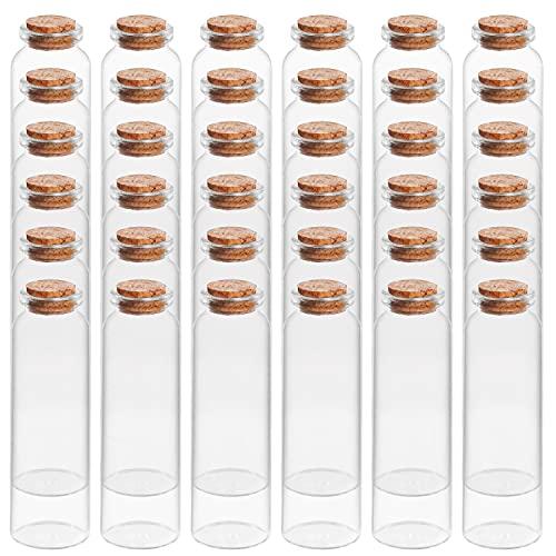 BELLE VOUS Mini Botellas de Cristal con Tapón de Corcho (Pack de 36) 50 ml - Mini Frascos Cristal Pequeños Herméticos y Redondos para Regalos de Bodas, Fiestas, Especias Cocina y Mermelada