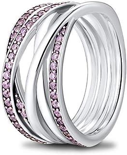 خاتم من الفضة الإسترلينية من CKK 925 مع كريستال شفاف للرجال، خواتم رائعة للمراهقين (خطوط وردية لامعة ولامعة، 8)