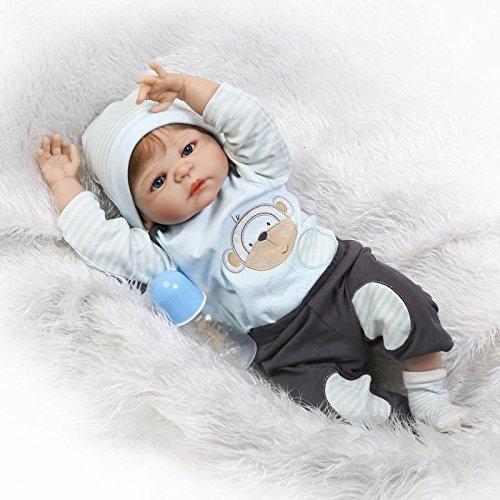 Nicery Reborn Baby Doll Rinato Bambino Bambola Rigido Silicone Vinile Impermeabile 22 Pollici 55cm Realistico Ragazzo Ragazza Bambina Giocattolo vivido 3 Anni + Boy Girl Toy RD55Z047BOWF