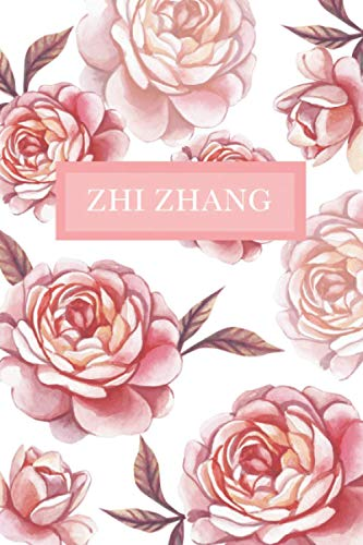 Zhi Zhang: Personalized Notebook with Flowers and Custom Name – Floral Cover with Pink Peonies. College Ruled (Narrow Lined) Journal for Women and Girls