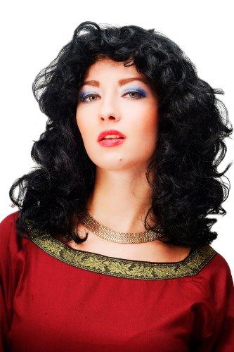 Perruque frisée noire, volumineuse, boucles légèrement ondulée , idéal pour Carnaval 61842